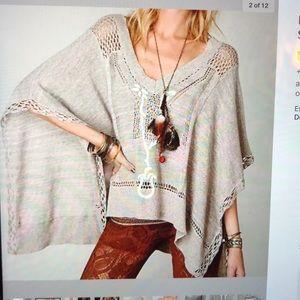 Free People Kona Pointelle Poncho sweater